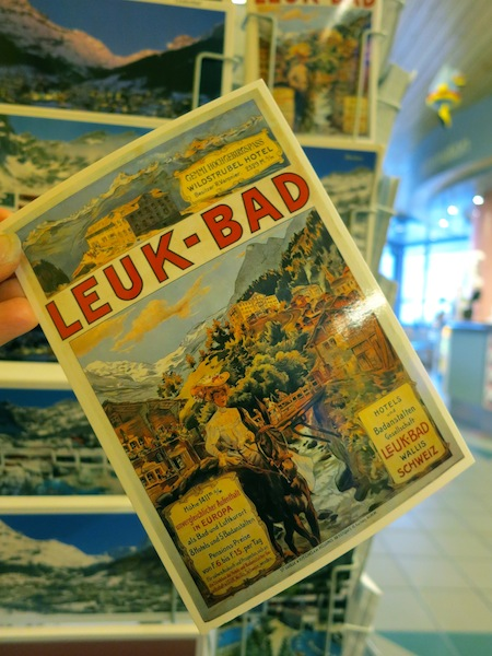 Leukerbad spa town in Switzerland postcards