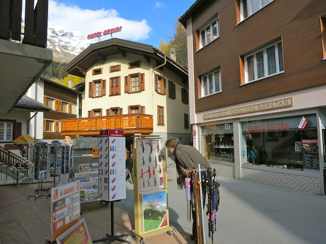 Shopping for Swiss army knives in Leukerbad Switzerland