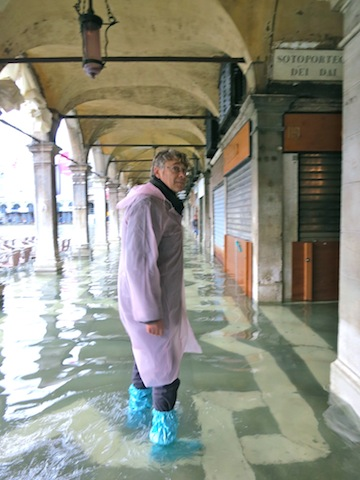 dressed for high water in Venice