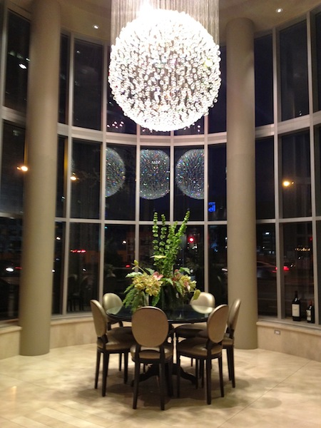 Hotel Le Crystal Montreal lobby chandelier