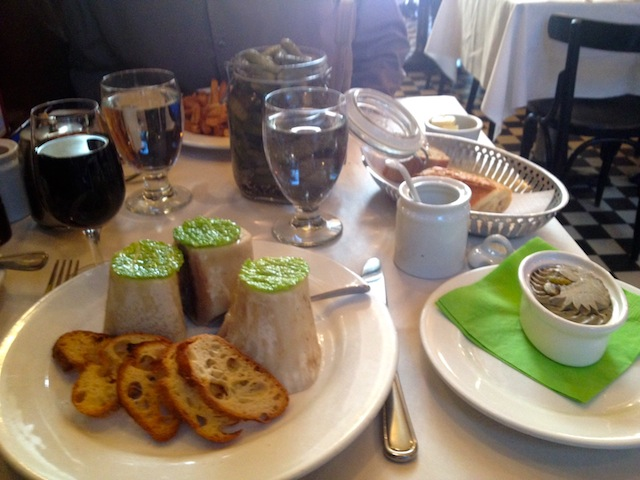 bone marrow and chicken liver pate at L'express Montreal