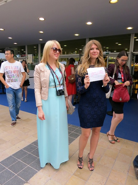Girls with invitation sign at Cannes Film Festival opening night