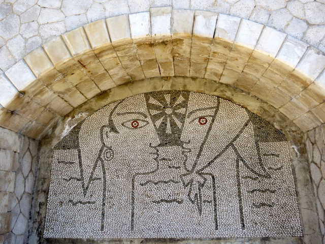 Pebble mosaic by Jean Cocteau outside Bastion in Menton