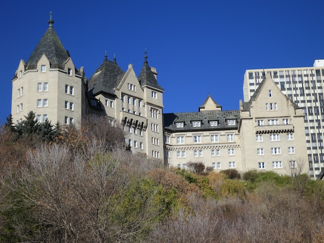 The Fairmont Hotel Macdonald in Edmonton from the riverbank