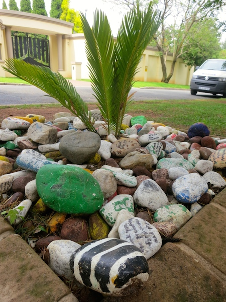 One day in Johannesburg, South Africa, stones dedicated to Mandela