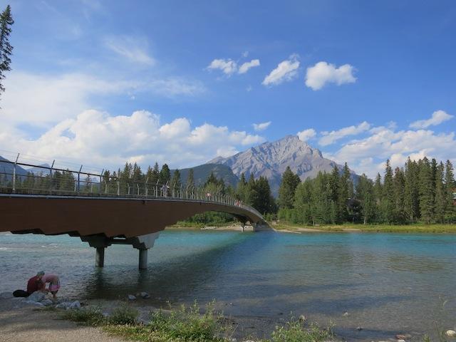 Banff Pedestrian Bridge, Bow River on the way to Fairmont Banff Springs spa
