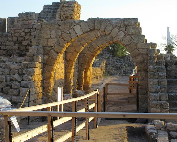 Crusader walls at Caesarea in Israel