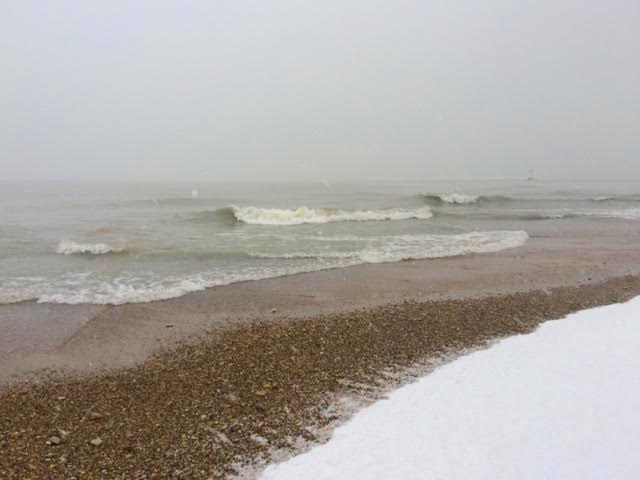 Weekend in Chicago, Lake Michigan in the snow