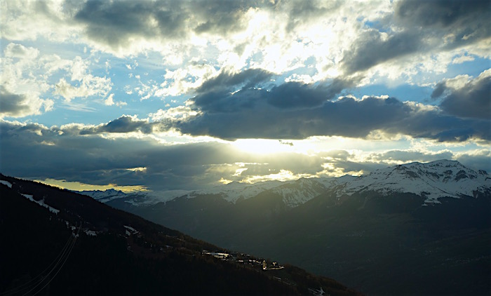 Skiing in the Alps, a French Savoy region sunset