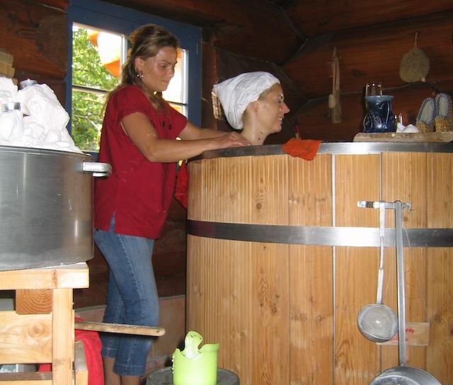 Wooden tub at Baiersbronn spa Germany