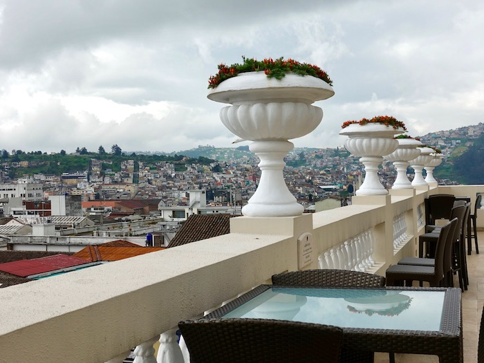 View of Quito from Casa Gangotena hotel