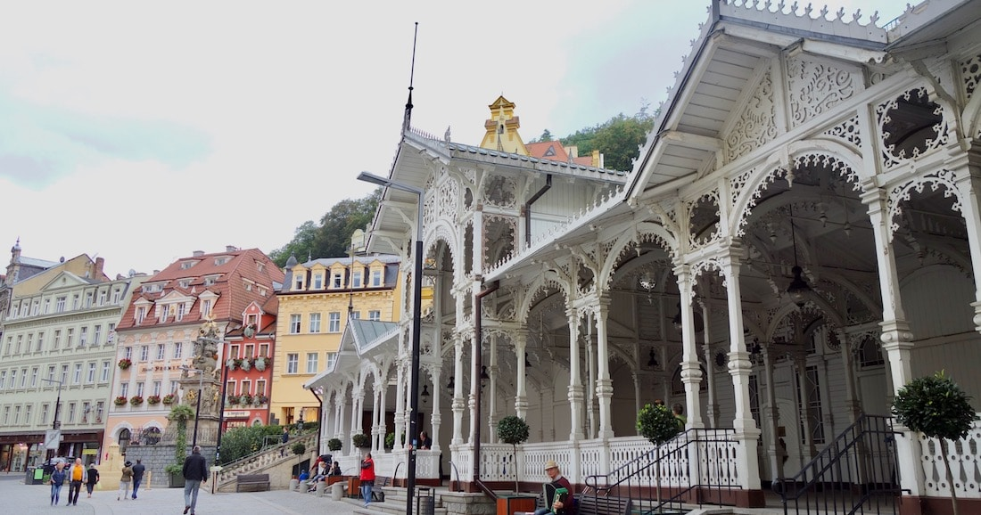 Czech Republic spa, Karlovy Vary hot springs fountains in gazebo