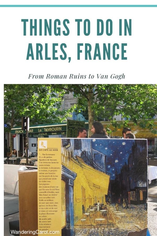 Pinterest image of Arles in the Place du Forum