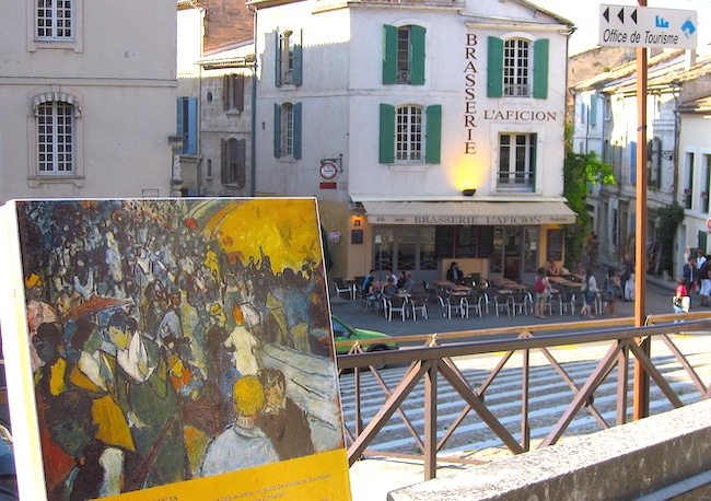 Painting of the Amphitheatre in Arles France right where Van Gogh painted it
