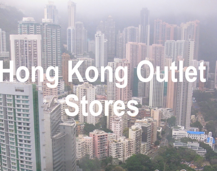 View of Hong Kong skyscrapers with text 'Hong Kong Outlet Stores'