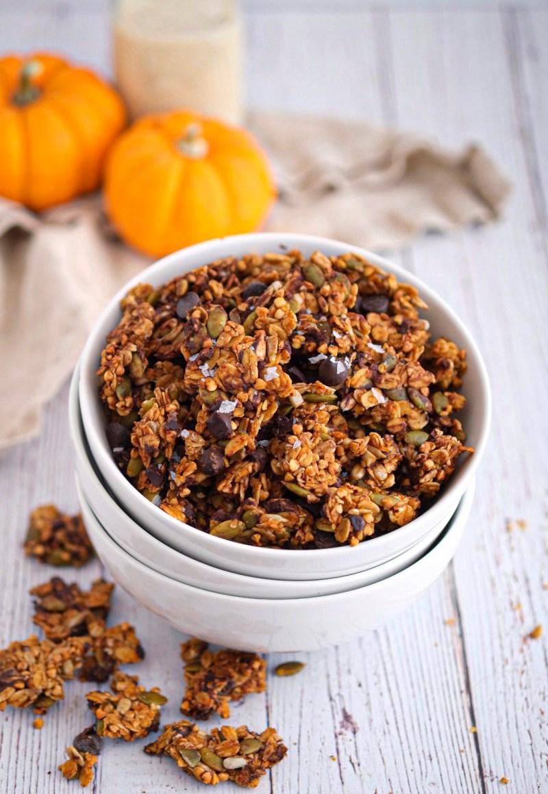 Nut free dark chocolate pumpkin granola recipe easy