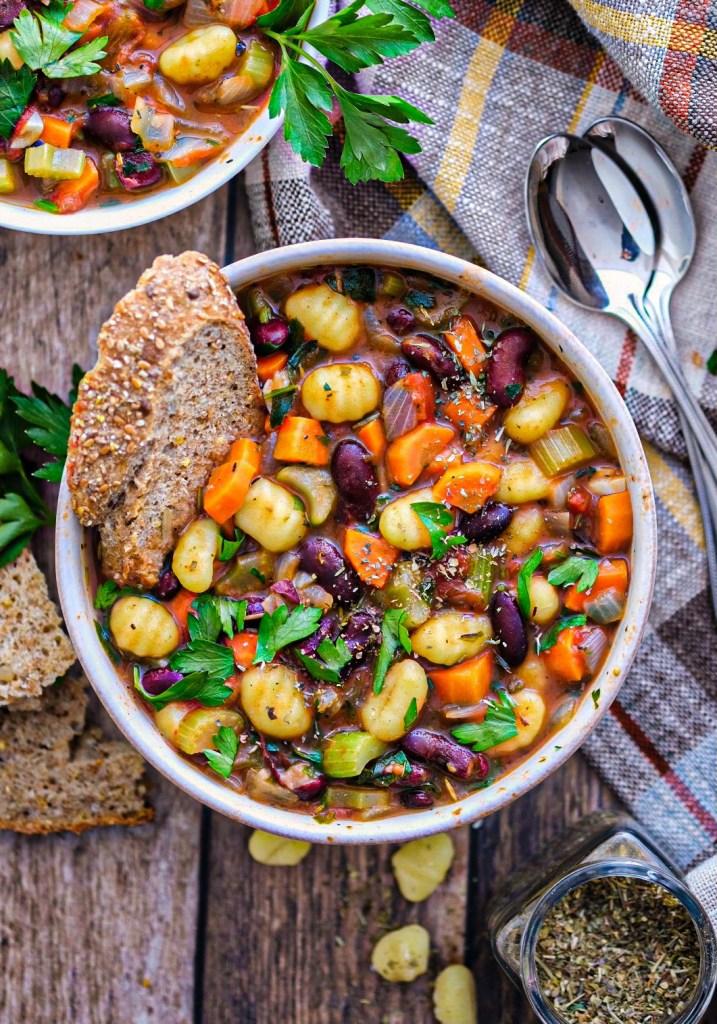 Vegan 20 minute gnocchi minestrone soup recipe