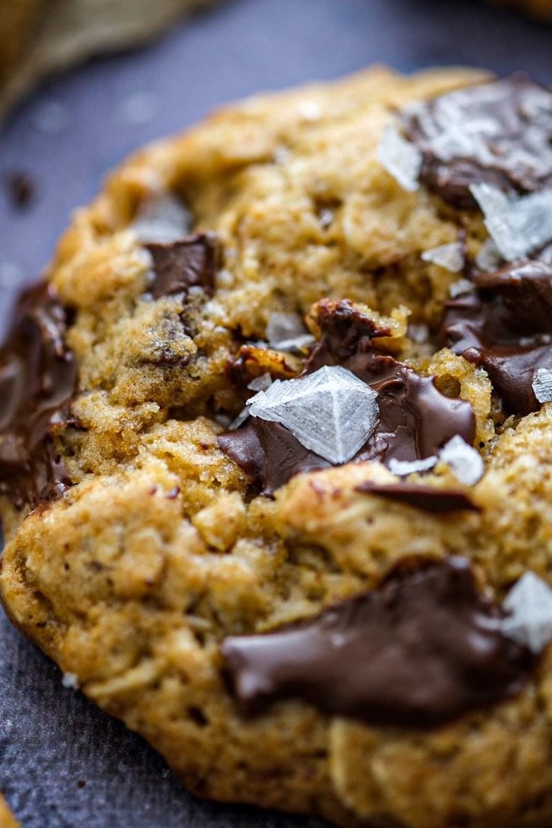 Oatmeal chocolate chip cookies photography