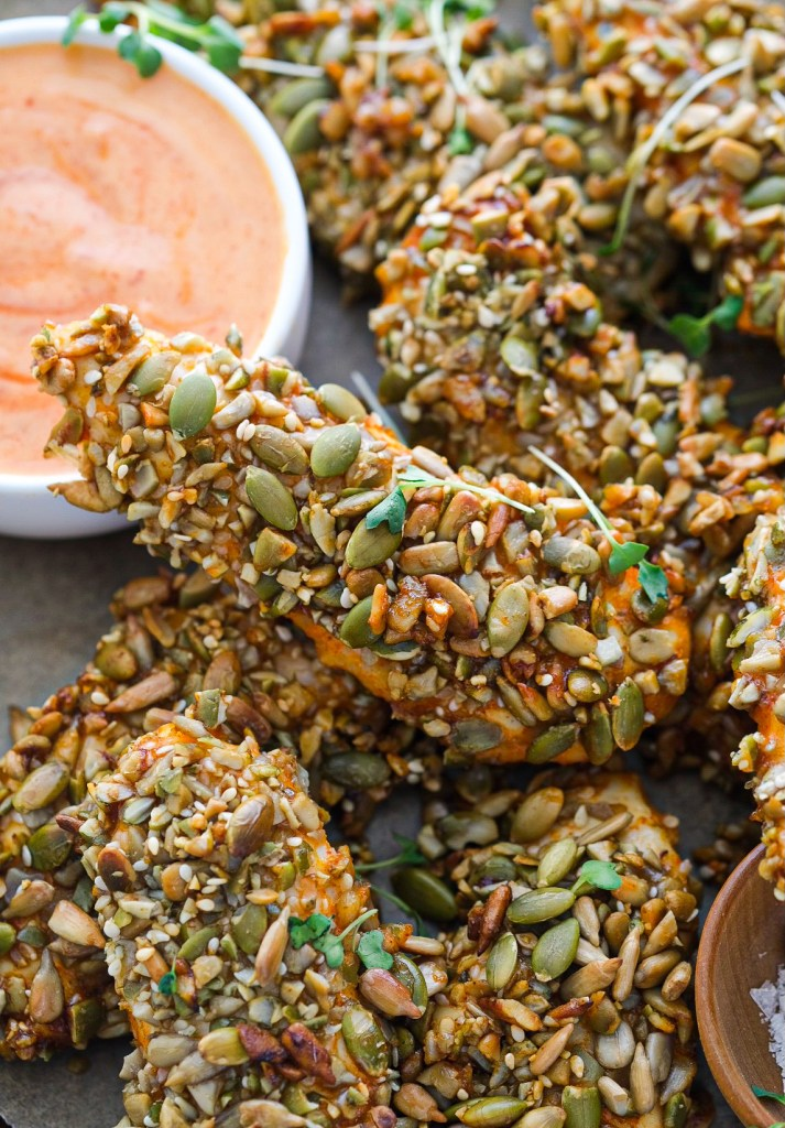 healthy pumpkin seed crusted chicken