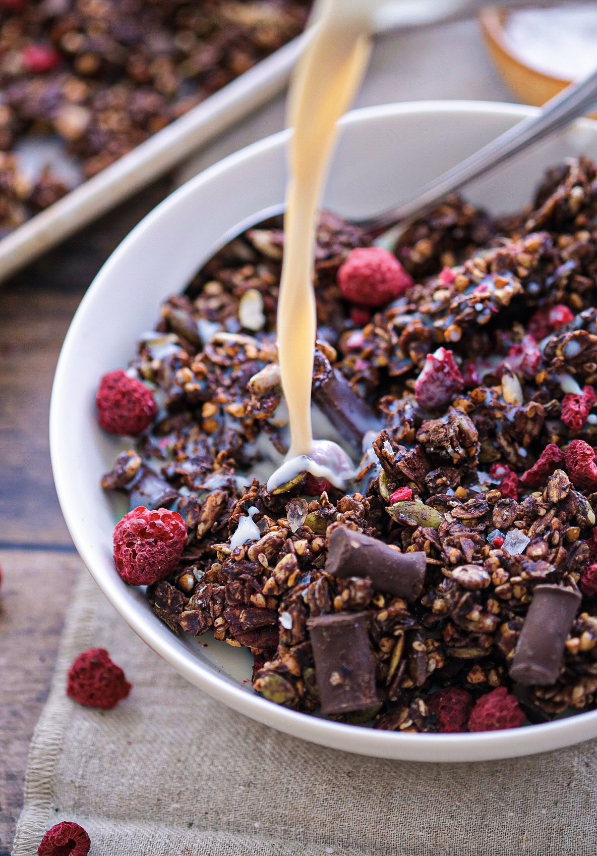 Raspberry Chocolate Chunk Granola (Nut Free)