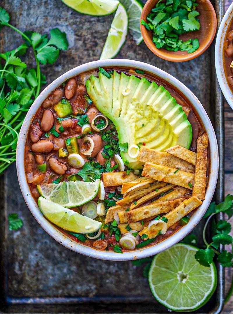 Vegan one pot pinto bean tortilla soup recipe