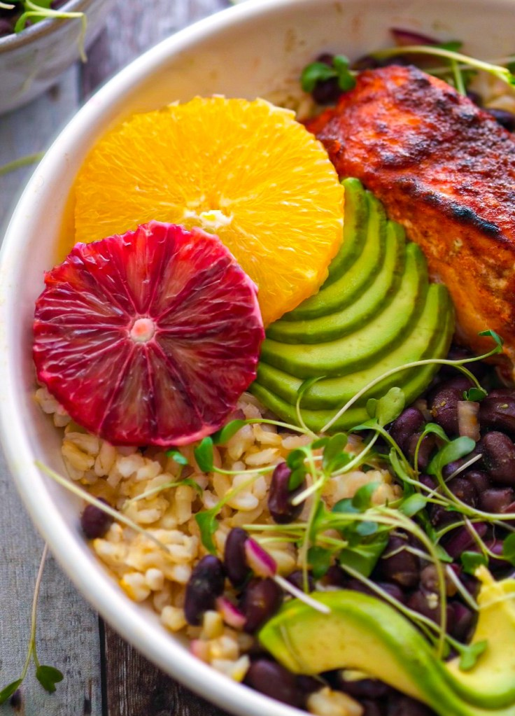 blackened salmon bowls with citrus