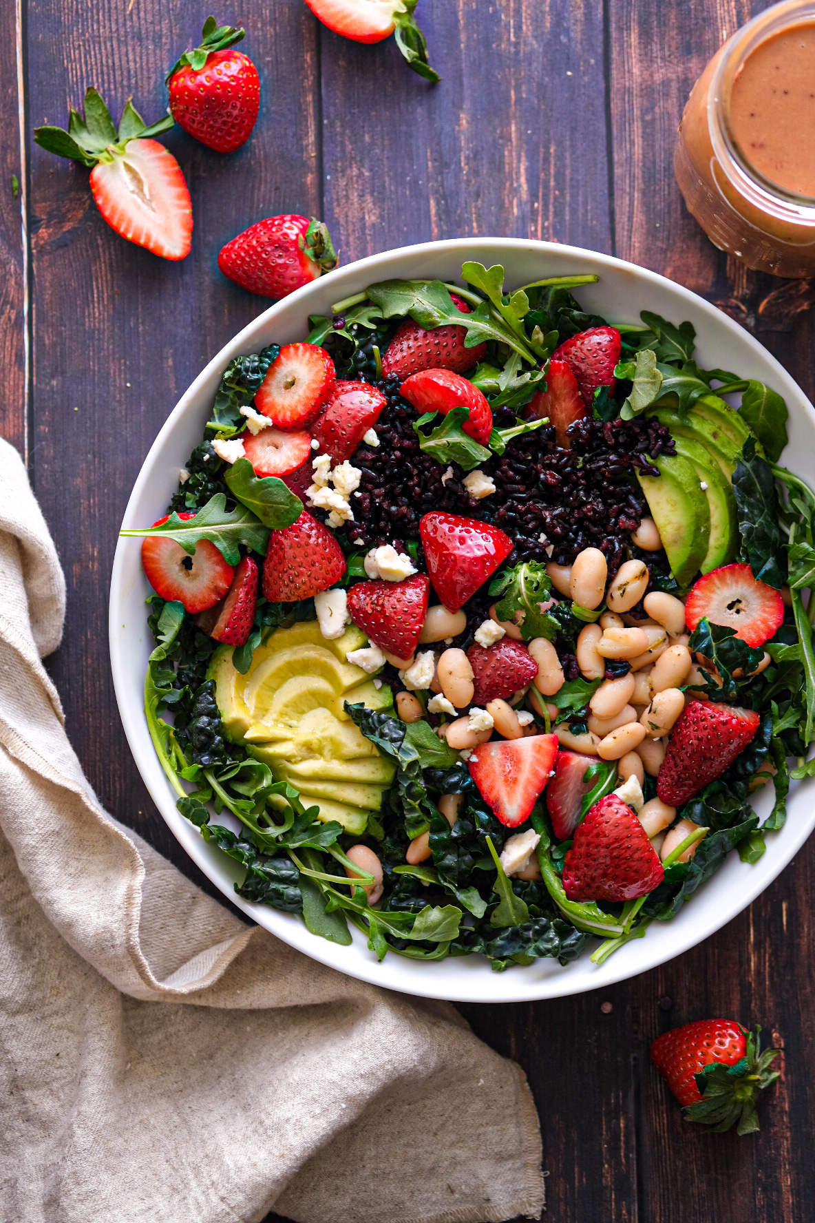 Roasted Strawberry Salad with Black Rice and Avocado
