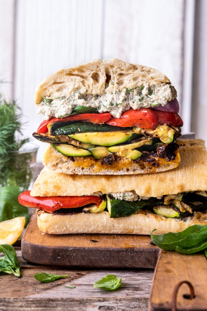 grilled vegetable sandwich with herbed sunflower ricotta