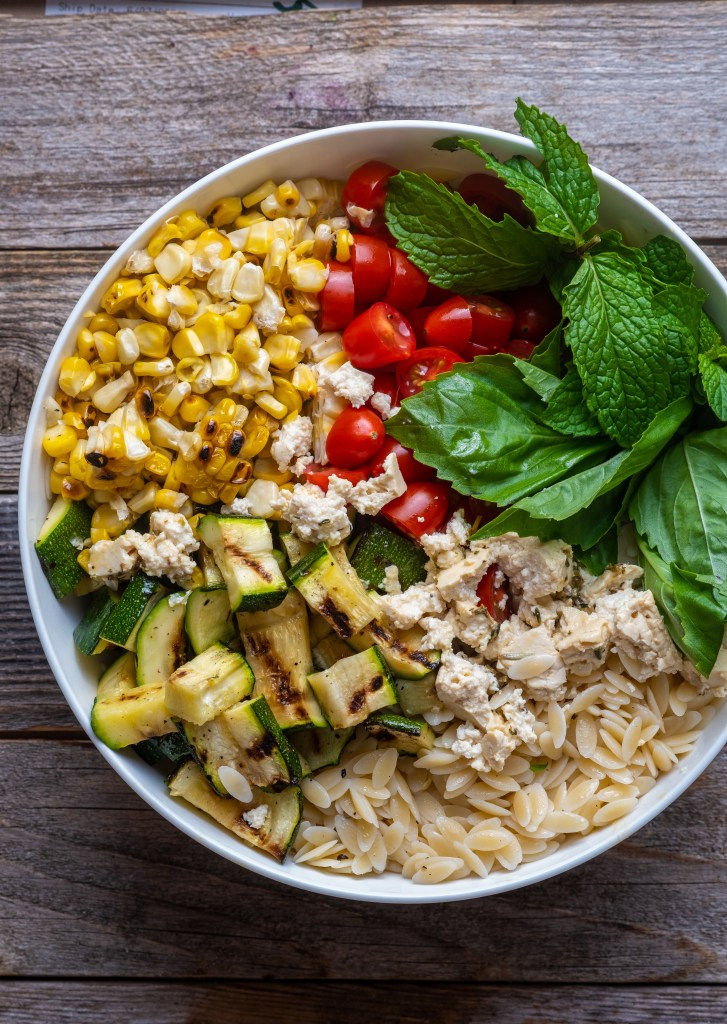 Lemon Basil Orzo Salad with Grilled Corn and Zucchini