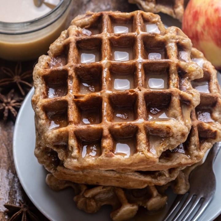 Maple Glazed Apple Fritter Waffles
