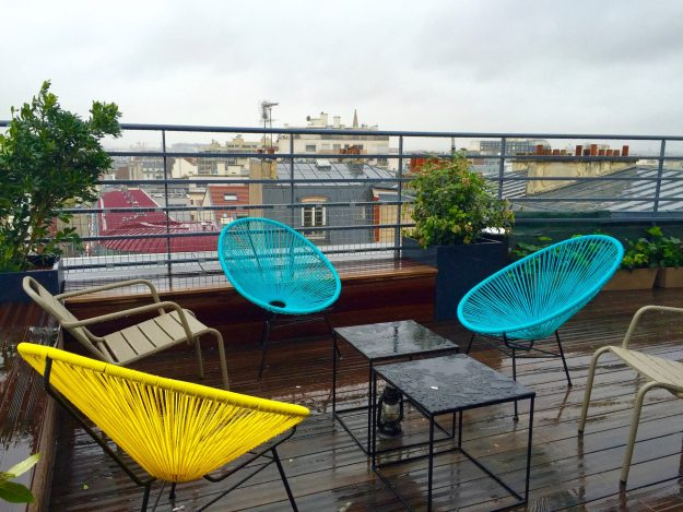 Roof top lounge, with views extending to the Eiffel Tower and beyond!