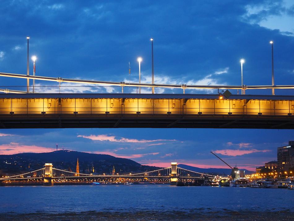 Budapest at night Chain Bridge River Cruise