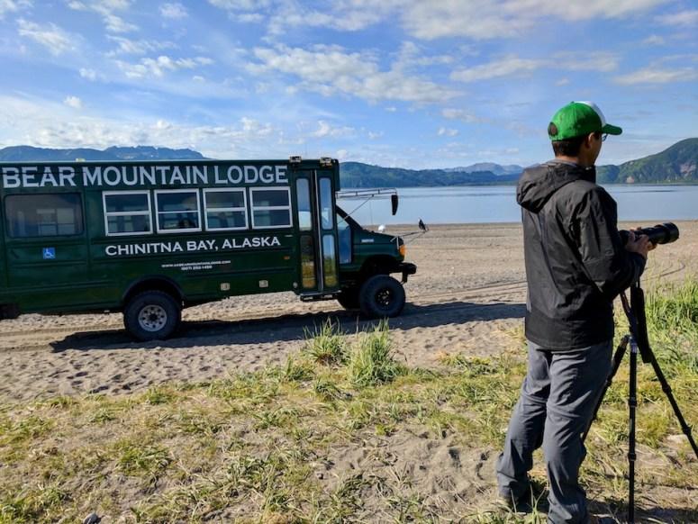 Bear Mountain Lodge Chinitna Bay Lake Clark National Park Alaska 4x4 bus