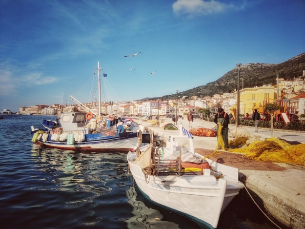 Working in Samos refugee camp in Greece with an NGO called Samos Volunteers. Fishing boats in the Samos harbor.