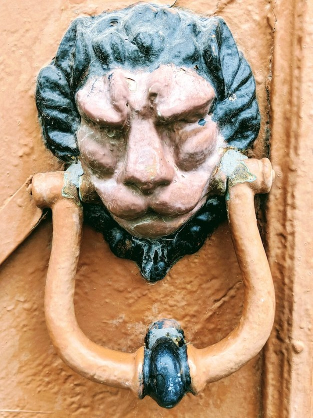 Volunteering in a refugee camp on Samos, Greece, Europe.  European door knocker, Vathi.