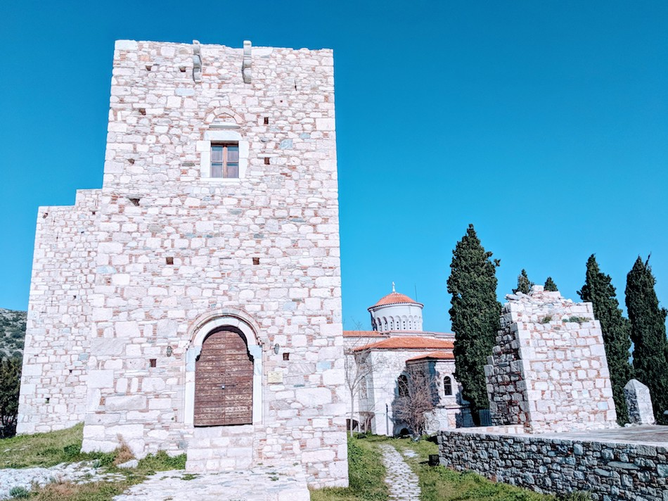 castle church on Samos, Greece. Volunteering in a refugee camp in Europe.