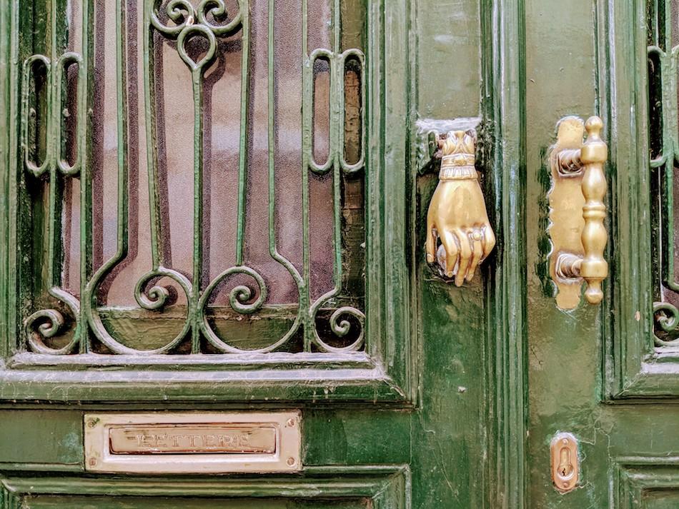 door handle in samos greece. Volunteering in a refugee camp