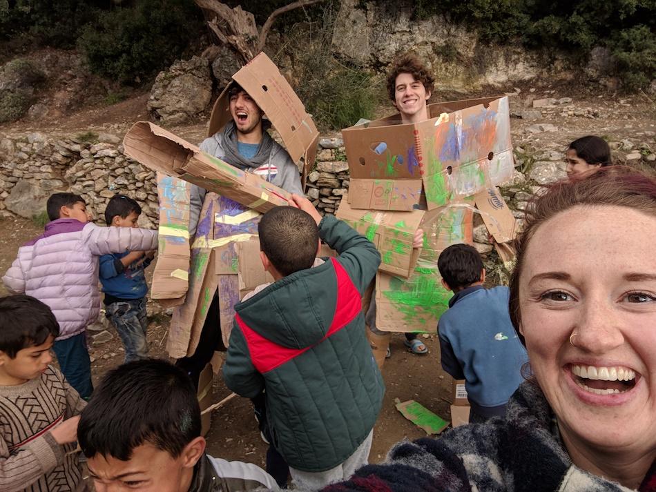 Kids crafts, cardboard human robots. Volunteering in a refugee camp in Europe.