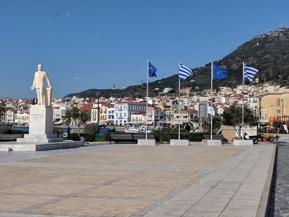 Downtown Samos, Greece. Volunteering in a refugee camp in Europe.
