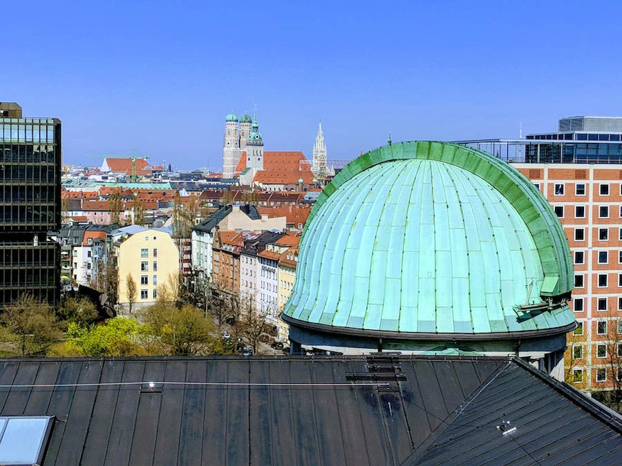 Deutsches Museum planetary dome and city skyline