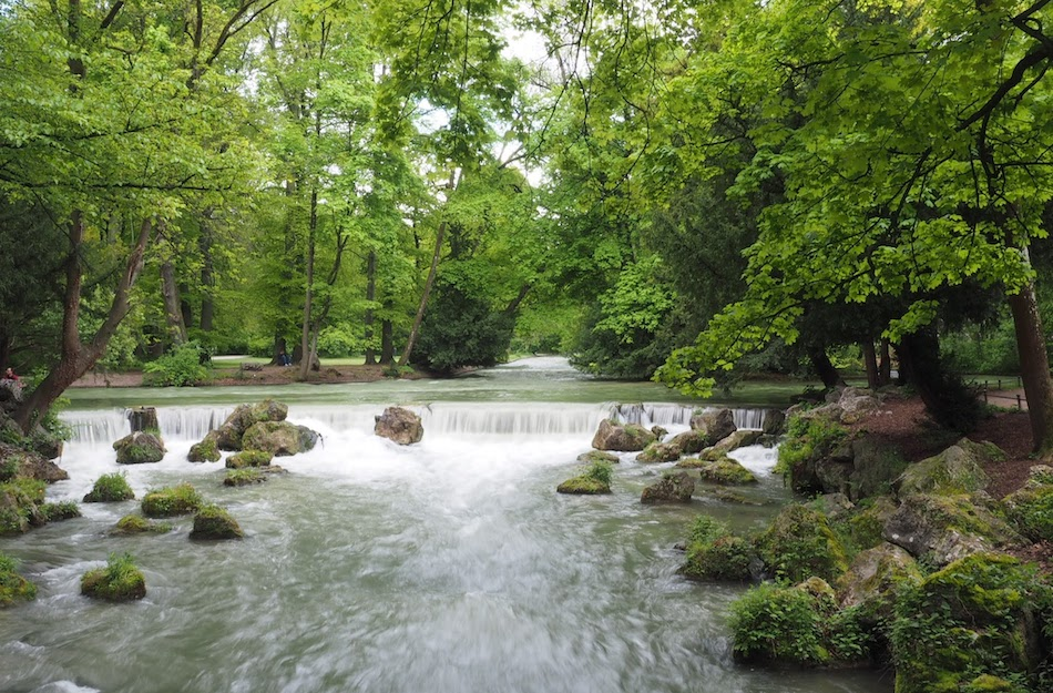 waterfall at the English Garden in Munich