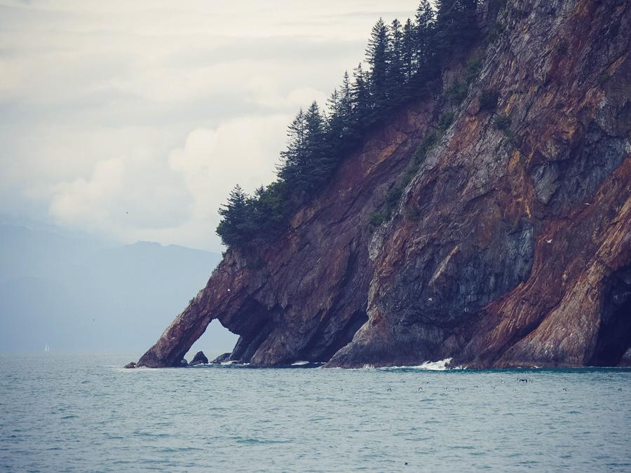 Rocky cliffs in Resurrection bay Seward Alaska