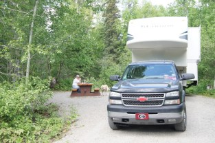 Our beautiful campsite at Liard River Hotsprings Provincial Park