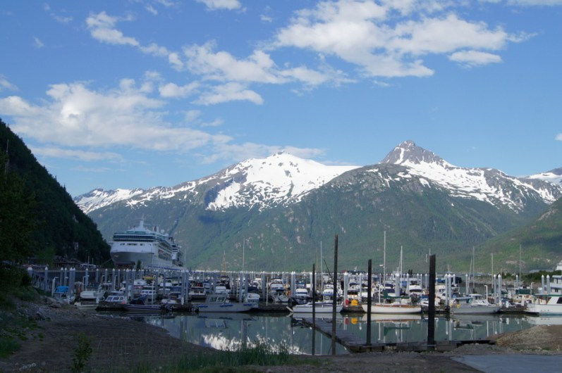 Skagway boat harbor as seen from our campsite