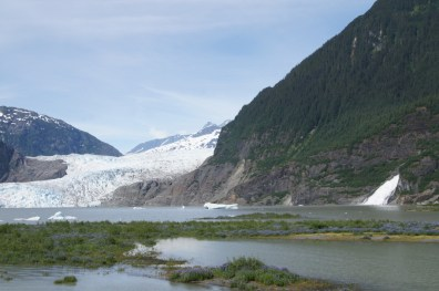 Mendenhall Glacier with the water falls on the right