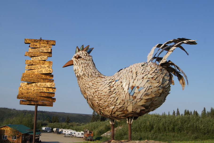 The signposts show other towns named after chickens. Who knew there were so many?