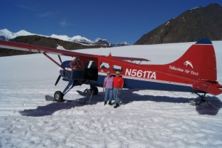 We landed on the Ruth Glacier. Hard to believe it was warm enough to wear short sleeves.