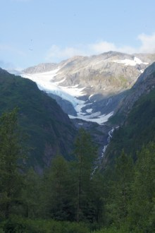 Glacier and waterfall