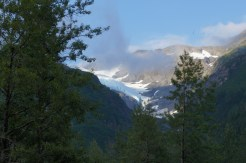 Fog over the glacier early in the morning