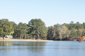 Looking at our campsite from across the lake
